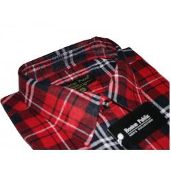 Boston Public flanelowa koszula męska duże rozmiary czerwona długi rękaw ROZMIARY 39-48