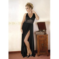 Andalea dystyngowana czarna sukienka duże rozmiary M/1074 rozmiary od 38 do 56