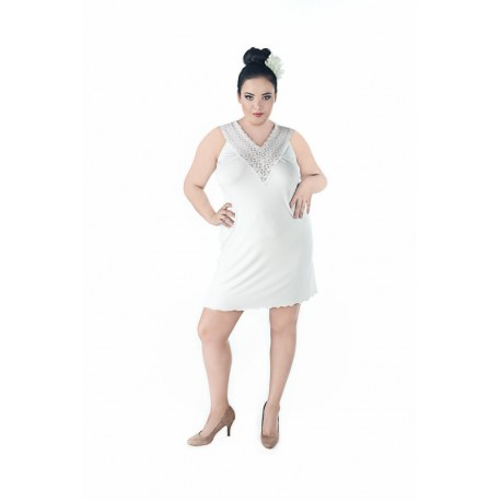 Andalea wiskozowa biała halka duże rozmiary SW/118 rozmiary od 38 do 56