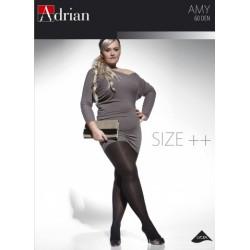 Adrian klasyczne rajstopy o grubości 60 Den duże rozmiary model Amy z microfibrą