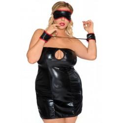 Andalea seksowna maska i kajdanki duże rozmiary AC/003 z czerwonym obszyciem