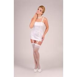 Andalea biała koszulka z paskami do pończoch duże rozmiary model M/1040 od 38 do 56
