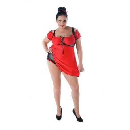 Andalea czerwony komplet erotyczny duże rozmiary SW/110 rozmiary od 38 do 56