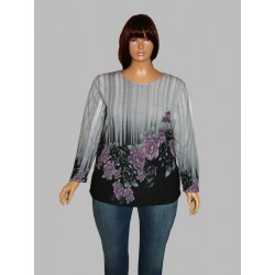 Iga ciepły sweter damski duże rozmiary model Angora Kwiaty