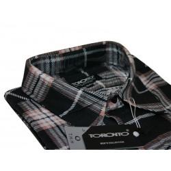 Toronto Duża koszula męska Flanela beżowo-brązowa długi rękaw ROZMIARY 39-47