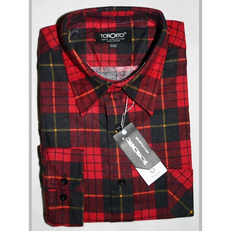 Toronto koszula męska flanelowa w czerwoną kratę duże rozmiary  gf1rY