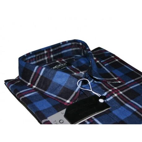 Toronto Duża koszula męska Flanelowa kolor granatowa długi rękaw ROZMIARY 39-47