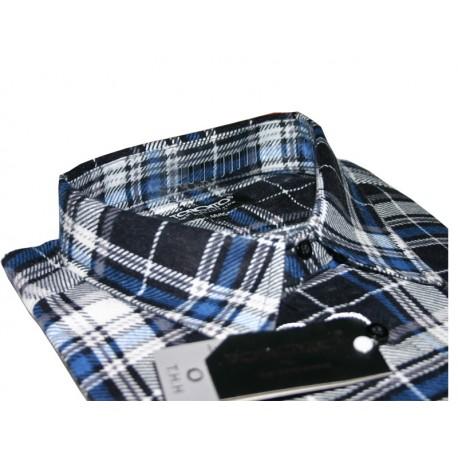 Toronto Duża koszula męska Flanelowa kolor niebieska długi rękaw ROZMIARY 39-47