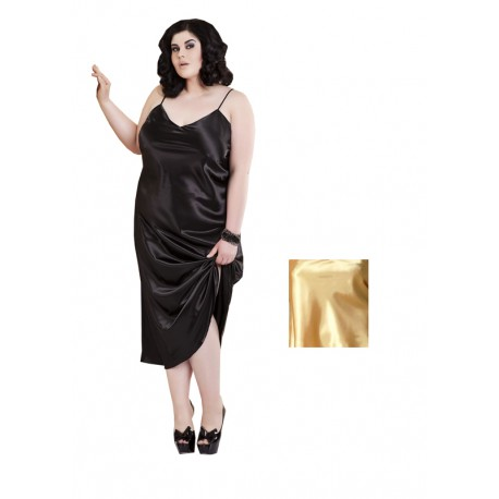 Długa halka satynowa duże rozmiary IGA 5XL złota