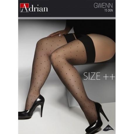 Adrian pończochy samonośne w kropki duże rozmiary Gwenn Size Plus 15 Den